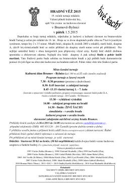 HRADNÍ VĚŽ 2015 v Brumově-Bylnici v pátek 1.5.2015