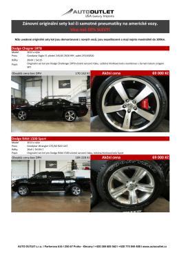 Zánovní originální sety kol či samotné pneumatiky na americké vozy