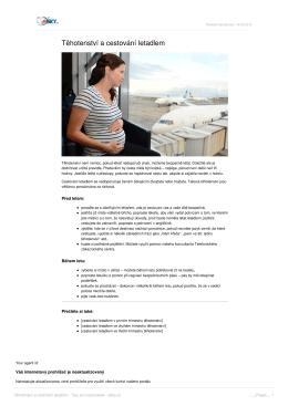 Těhotenství a cestování letadlem - Tipy pro cestovatele