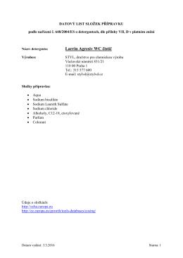 Bezpečnostní list - STYL, družstvo pro chemickou výrobu
