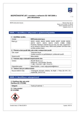 BEZPEČNOSTNÍ LIST v souladu s nařízením ES 1907/2006