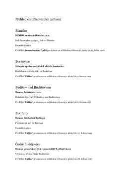 Přehled certifikovaných zařízení Blansko Boskovice Budišov nad