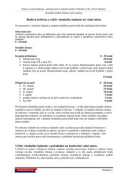 Bodová kritéria a výběr žadatele na volné místo