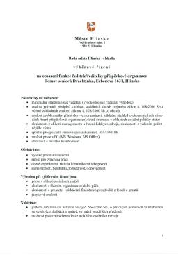 Město Hlinsko výběrové řízení na obsazení funkce ředitele/ředitelky