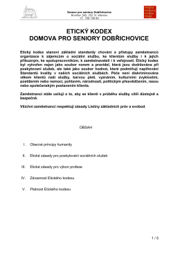 ETICKÝ KODEX - Domov pro seniory Dobřichovice
