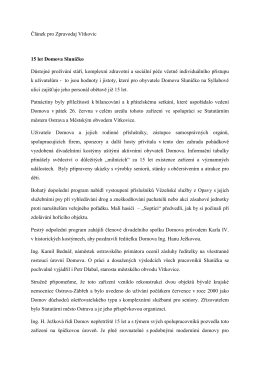 Článek pro Zpravodaj Vítkovic 15 let Domova