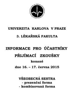 Harmonogram 2015 - 3. lékařská fakulta