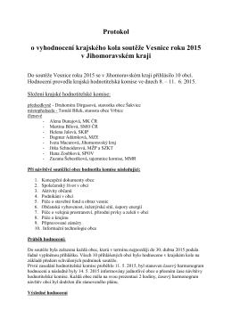Protokol o vyhodnocení krajského kola soutěže Vesnice roku