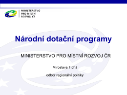 Národní programy MMR pro rok 2016