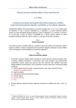 Obecně závazná vyhláška Města Týnec nad Sázavou č. 1/2015 o