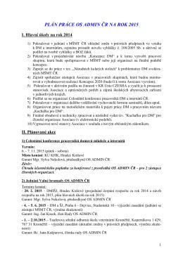 plán práce OS - Asociace domovů mládeže a internátů České