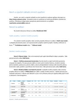 Návrh a výpočet nákladů zimních opatření Návod na aplikaci