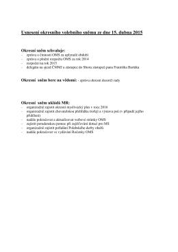 Usnesení okresního volebního sněmu ze dne 15. dubna 2015