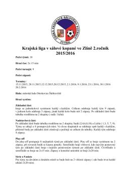 Krajská liga salovka 2016 Propozice