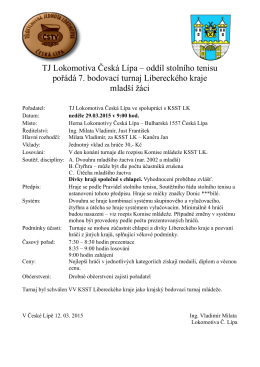TJ Lokomotiva Česká Lípa – oddíl stolního tenisu pořádá 7