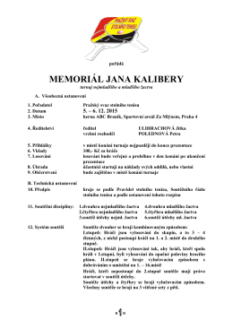 MEMORIÁL JANA KALIBERY - turnaj