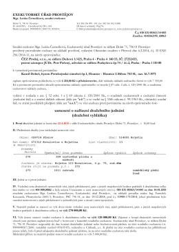 usnesení o nařízení dražebního jednání (dražební vyhláška)