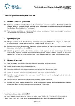 Skipala Networks - Technická specifikace služby NENÁROČNÝ