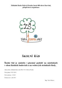 ŠKOLNÍ ŘÁD - Základní škola Jarní