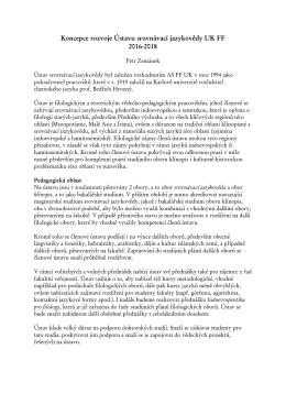 Koncepce rozvoje Ústavu srovnávací jazykovědy UK FF