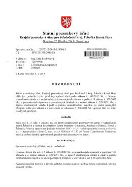 STÁTNÍ POZEMKOVÝ ÚŘAD, Spis. zn.: 2RP3313/2011