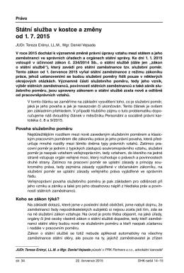 Státní služba v kostce a změny od 1. 7. 2015