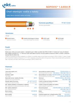 Oheň retardující vodiče a kabely NOPOVIC® 1-AXKH-R