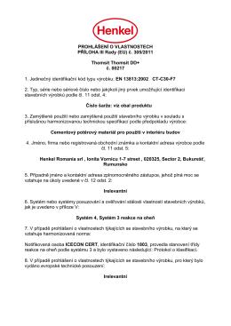 PROHLÁŠENÍ O VLASTNOSTECH PŘÍLOHA III Rady (EU) č. 305