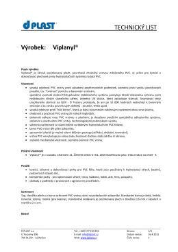 TECHNICKÝ LIST Výrobek: Viplanyl®