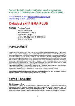 Ovládací skříň BMA PLUS návod a popis