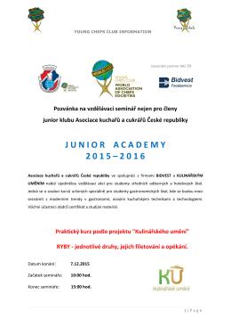 Junior Academy 2015 – 2016 | Ryby