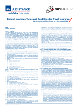 General Insurance Terms and Conditions for Travel