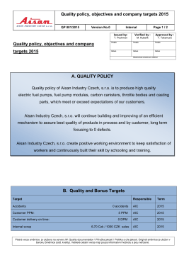 General qulity requirements of Aisan Bitron Czech s r