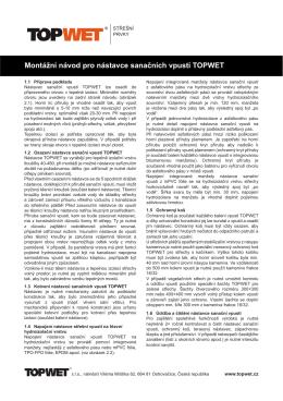 Montážní návod pro nástavce sanačních vpustí TOPWET