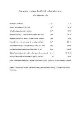 Orientační ceník nejčastějších zednických prací včetně materiálu