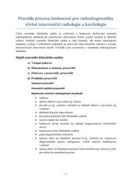 Pravidla procesu hodnocení pro radiodiagnostiku, včetně