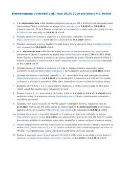 Harmonogram ubytování v ak. roce 2015/2016 pro koleje v J. Hradci