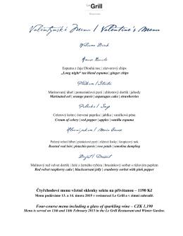 Čtyřchodové menu včetně sklenky sektu na přivítanou – 1190 Kč