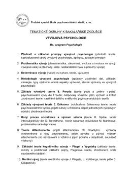 Vývojová psychologie - Pražská vysoká škola psychosociálních studií