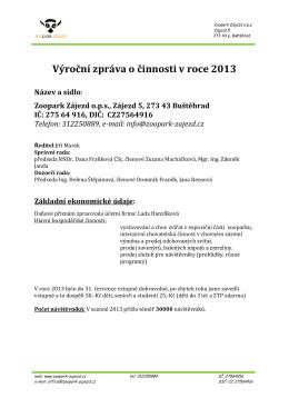 Výroční zpráva o činnosti v roce 2013