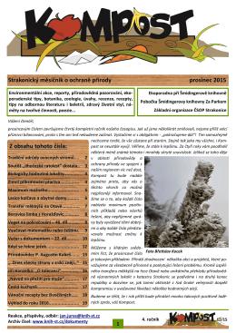 Strakonický měsíčník o ochraně přírody prosinec 2015 Z obsahu