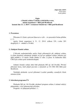 Zápis ze dne 21. února 2015