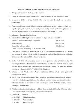 Z jednání výboru T. J. Sokol Nový Hrádek ze dne 5. října 2015 1