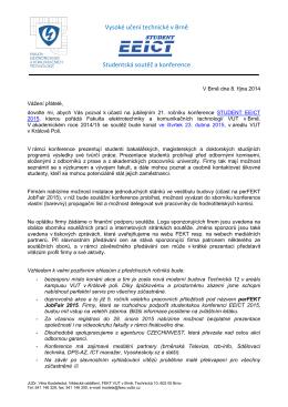 Soutěž EEICT - oznámení firmám