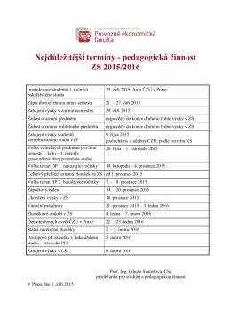 Nejdůležitější termíny - pedagogická činnost ZS 2015/2016