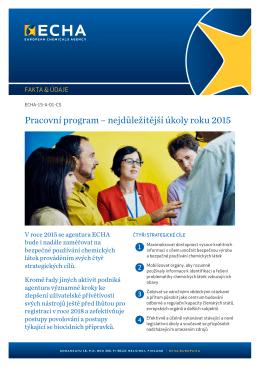 Pracovní program – nejdůležitější úkoly roku 2015