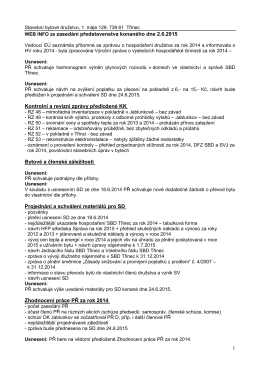 1 WEB INFO ze zasedání představenstva konaného dne 2.6.2015