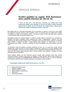 AXA Assistance ušetřila klientům přes 120 milionů Kč