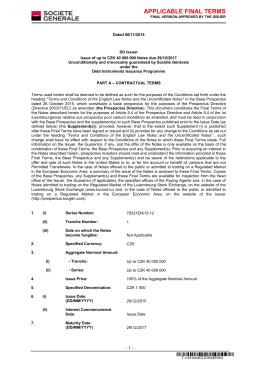 APPLICABLE FINAL TERMS - Investiční certifikáty CYRRUS