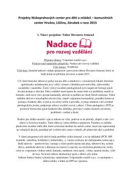 Projekty NZDM 2015 - Vzájemné soužití ops